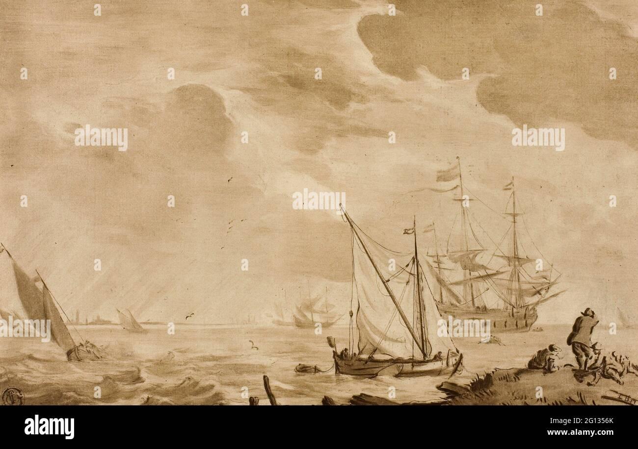 Autor: Jacob Cornelis Ploos van Amstel. Seascape - Jacob Cornelis Ploos van Amstel (holandés, 1726-1798) o después de Ludolf van Bakhuyzen (holandés, 18th Foto de stock