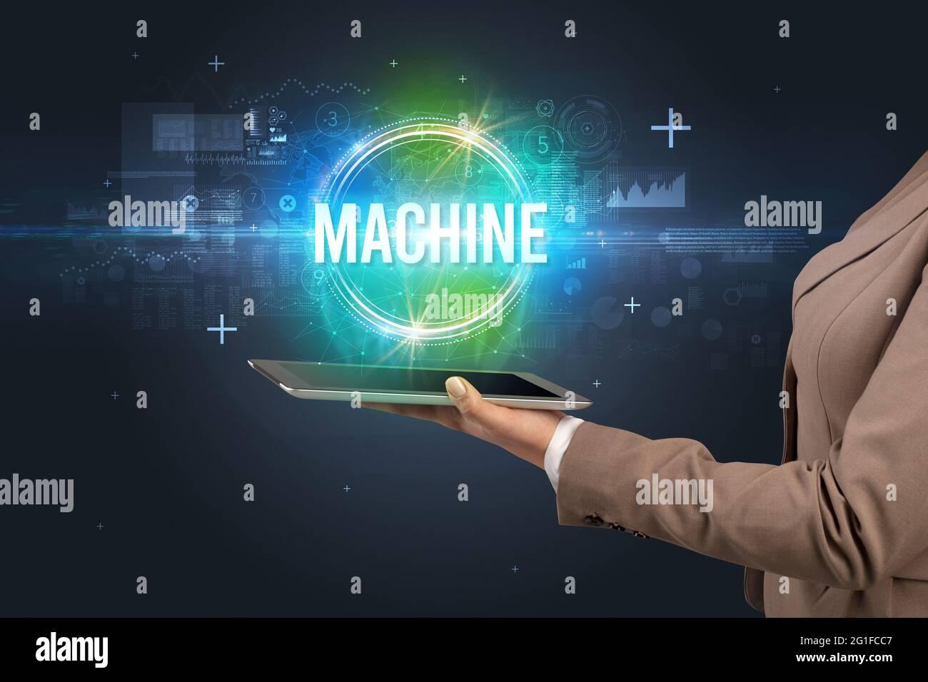 Primer plano de una pantalla táctil, nuevo concepto tecnológico Foto de stock