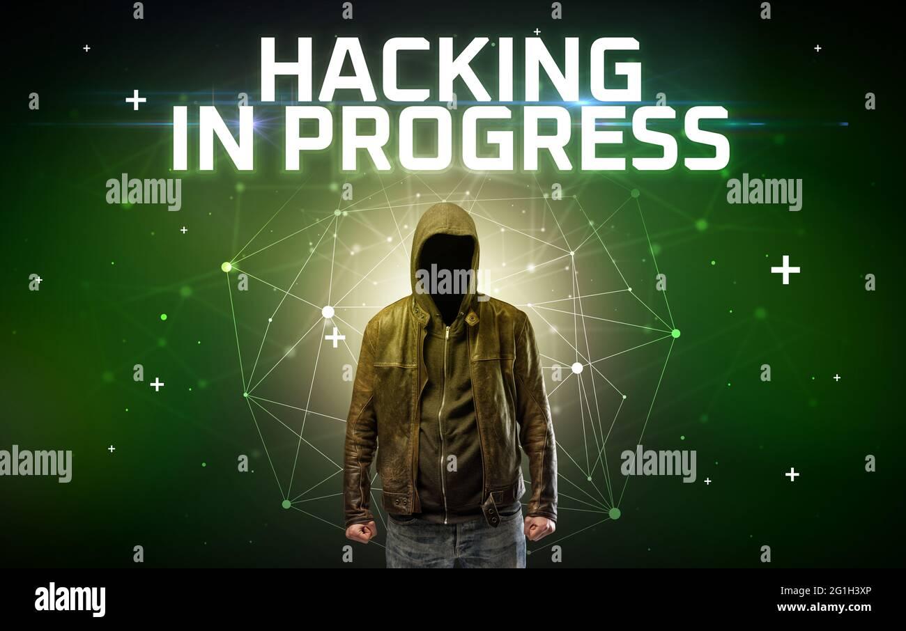 Misterioso hacker, concepto de ataque en línea Foto de stock
