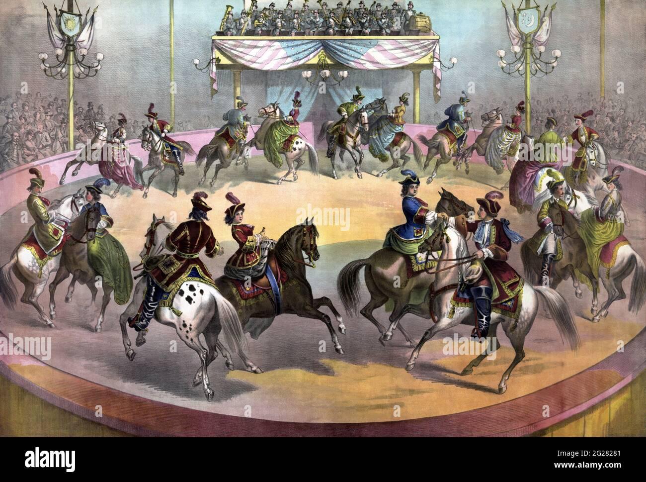 Circo Grand Finale, alrededor de 1872. Foto de stock