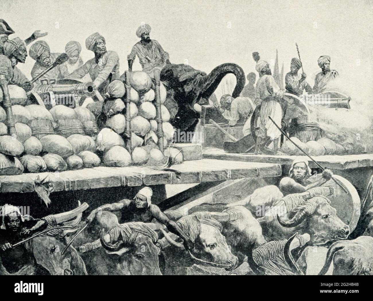 Batalla de Plassey - Artillería de Nawab en su Plataforma Movable. Por R Caton Woodville. La Batalla de Plassey fue una victoria decisiva de la Compañía Británica de la India Oriental sobre una fuerza mucho mayor del Nawab de Bengala y sus aliados franceses el 23 de junio de 1757, bajo el liderazgo de Robert Clive. La batalla ayudó a la Compañía a tomar el control de Bengala. Richard Caton Woodville Jr.(1825-1855) fue un artista e ilustrador inglés, que es mejor conocido por ser uno de los pintores más prolíficos y efectivos de las escenas de batalla a finales de 19th y principios de 20th siglos. Foto de stock