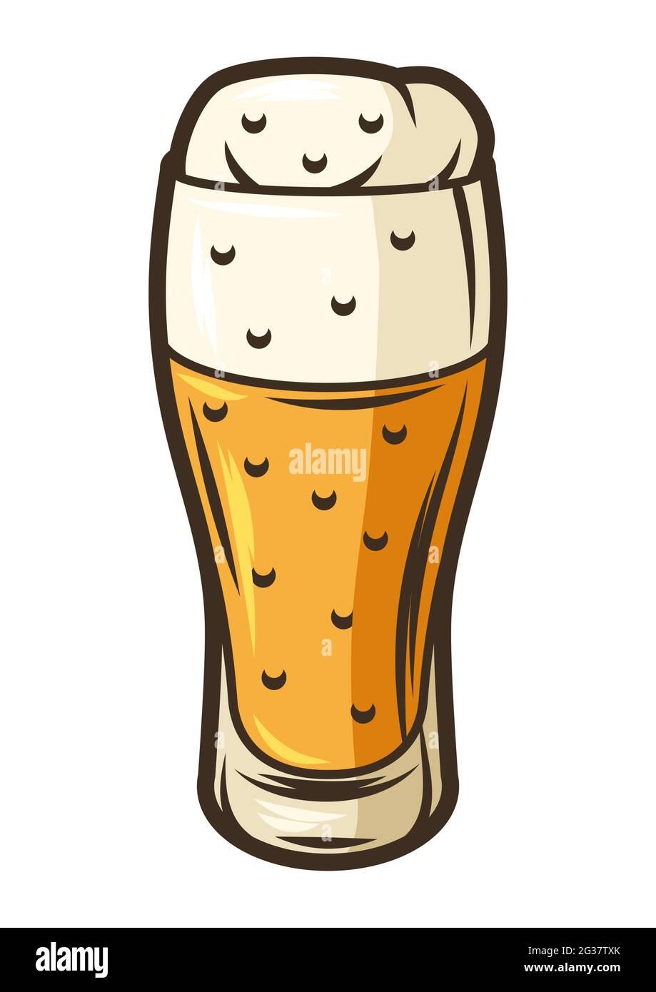 Ilustración de un goblet de vidrio con cerveza. Objeto en grabado de estilo dibujado a mano. Elemento antiguo para el festival de la cerveza o Oktoberfest. Ilustración del Vector
