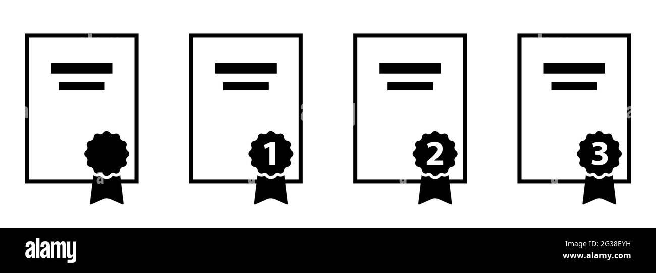 Símbolo de papel de reconocimiento de certificados con iconos de ilustración vectorial de certificados de primer segundo y tercer lugar Ilustración del Vector