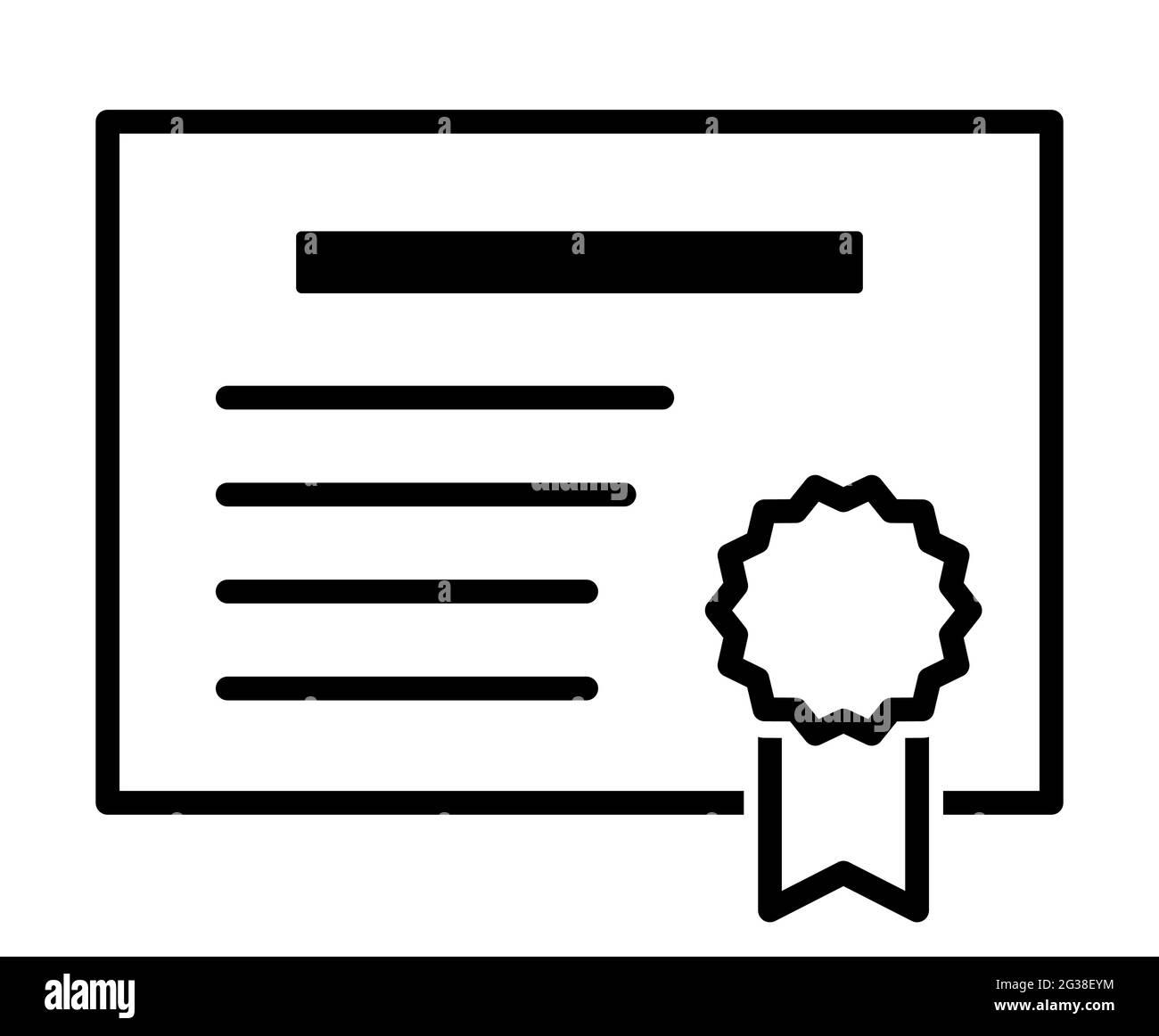 Documento de licencia de certificado página de concesión de patentes símbolo ilustración vectorial icono Ilustración del Vector