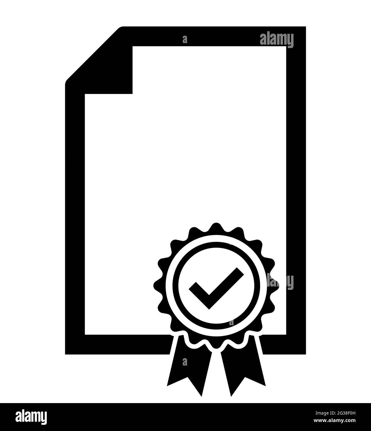 Icono de ilustración vectorial de símbolo de hoja de patente de certificado Ilustración del Vector
