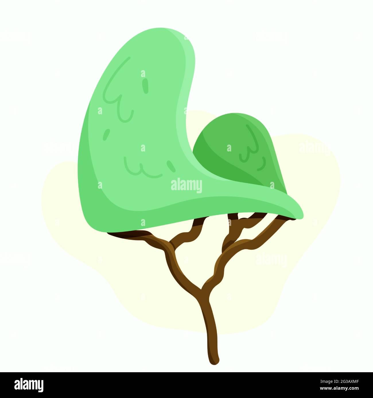 Lindo árbol en estilo de dibujos animados. Ilustración vectorial. Ilustración del Vector