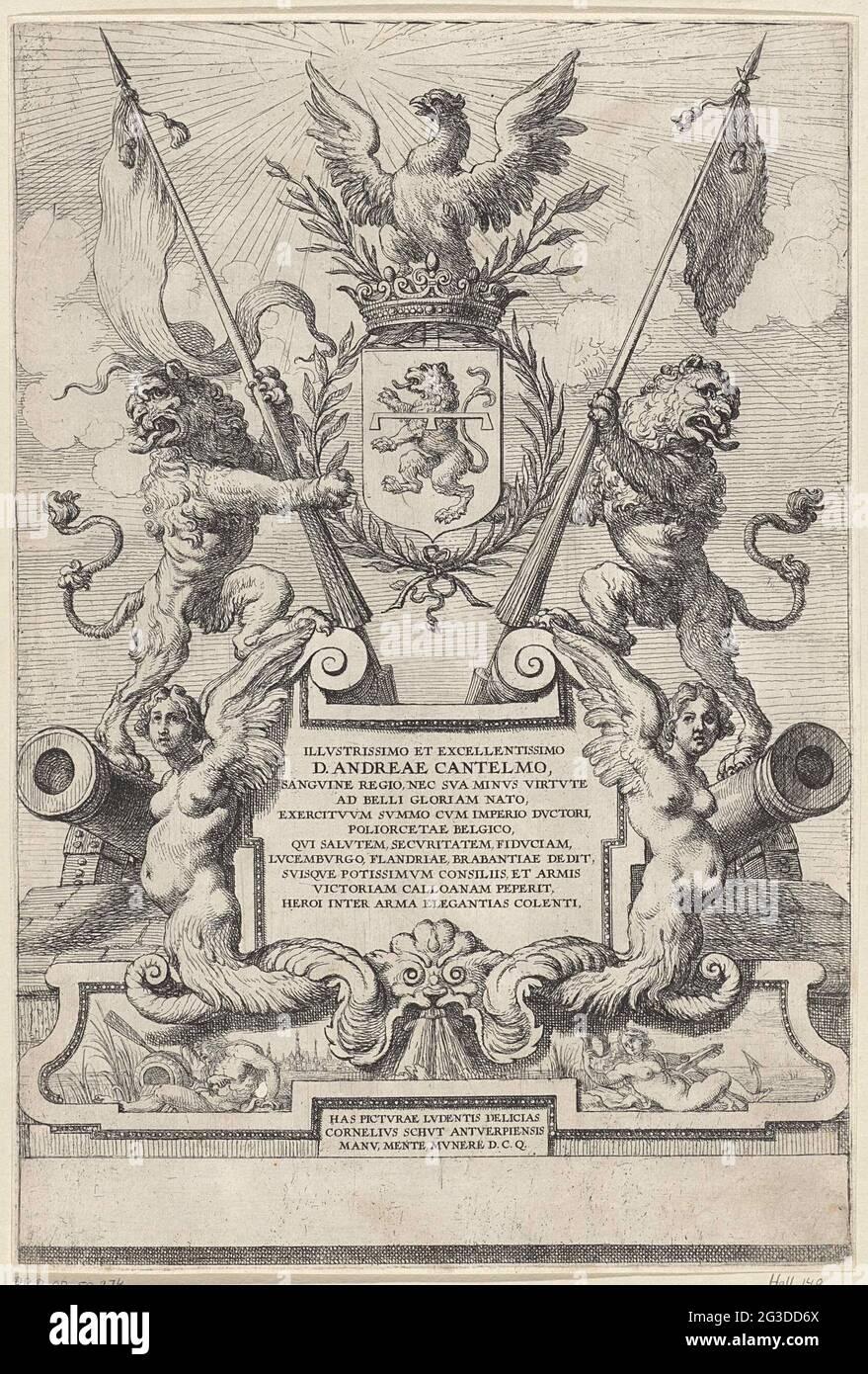 Estampado alegórico. Dos leones sostienen banderas y el escudo de la familia del Geldhord italiano Don Andrea Cantelmo. Un águila está en la parte superior del arma coronada. La misión, en un cartouche, está flanqueada por dos arpies y armas. En un cartouche por un dios río y una ninfa con la ciudad de Amberes en el fondo. Foto de stock