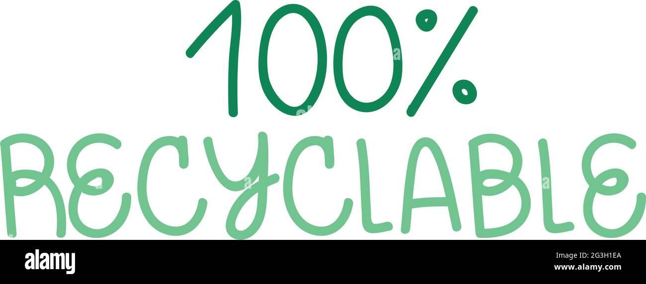 diseño de texto sostenible Ilustración del Vector