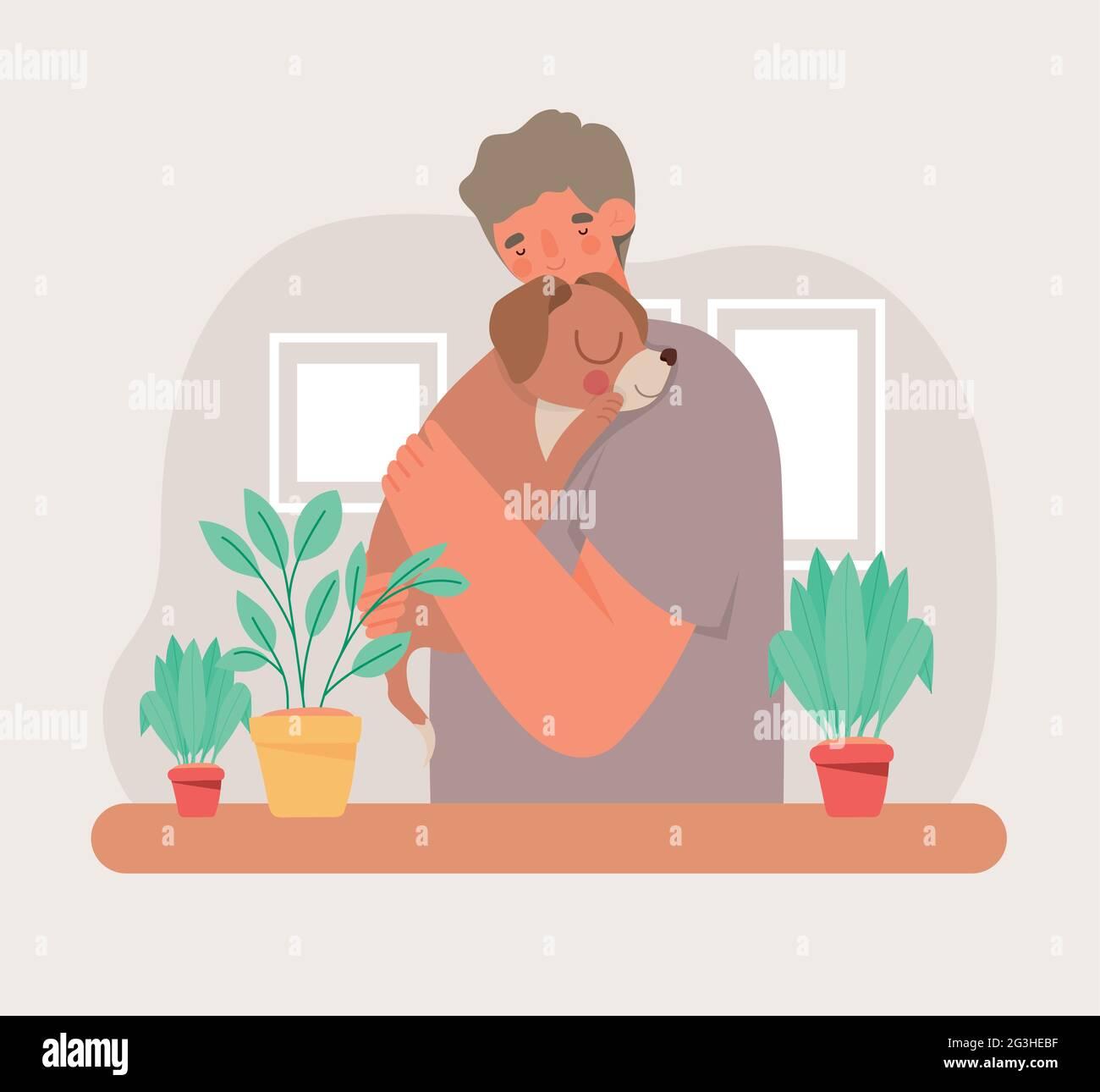 hombre abrazando perrito Ilustración del Vector