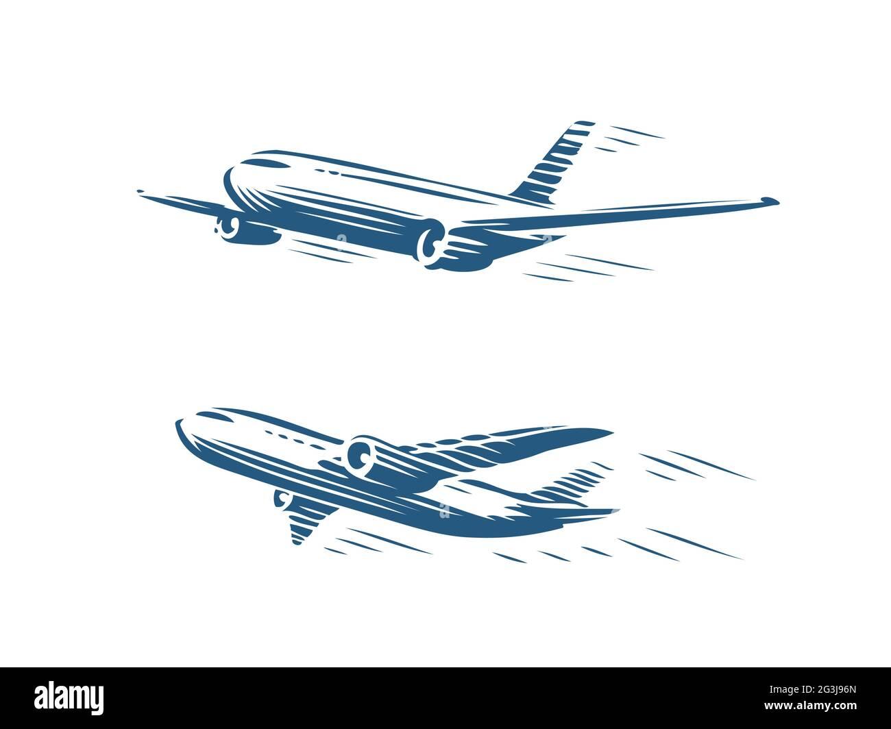 Juego de aviones voladores. Avión de despegue, símbolo de aerolínea. Ilustración de vector de concepto de viaje Ilustración del Vector