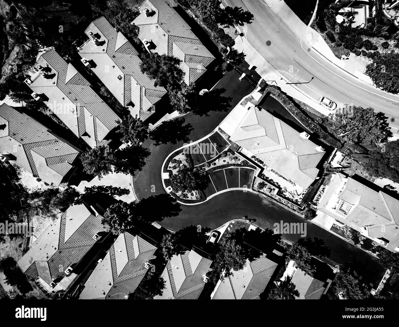 vista del valle en blanco y negro Foto de stock