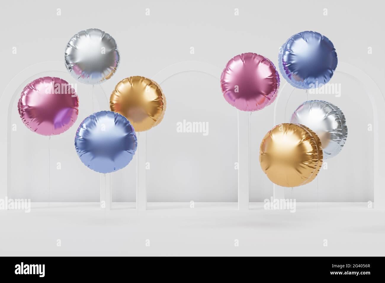 Brillantes globos de colores con arcos blancos, fondo para fiestas, cumpleaños, celebraciones o vacaciones, 3D render realista Foto de stock