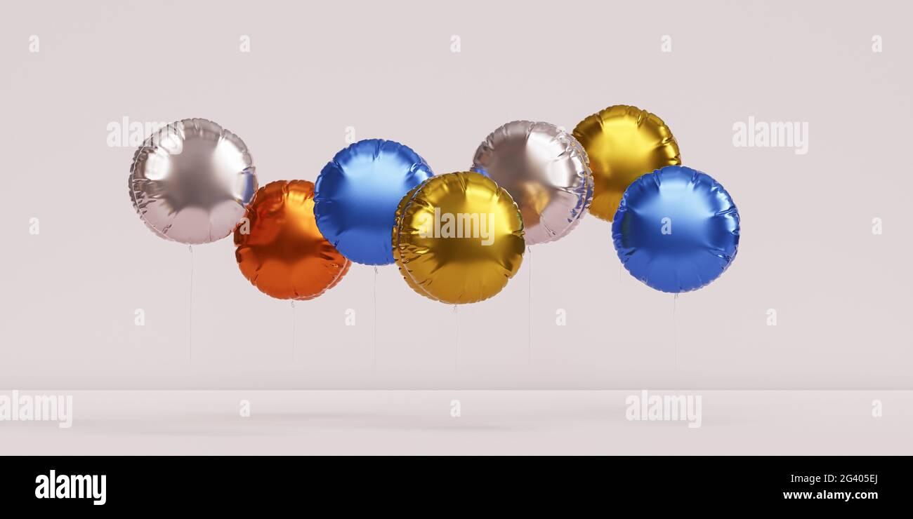 Brillantes globos de colores, fondo de bandera beige para fiestas, cumpleaños, celebraciones o vacaciones, 3D render realista Foto de stock