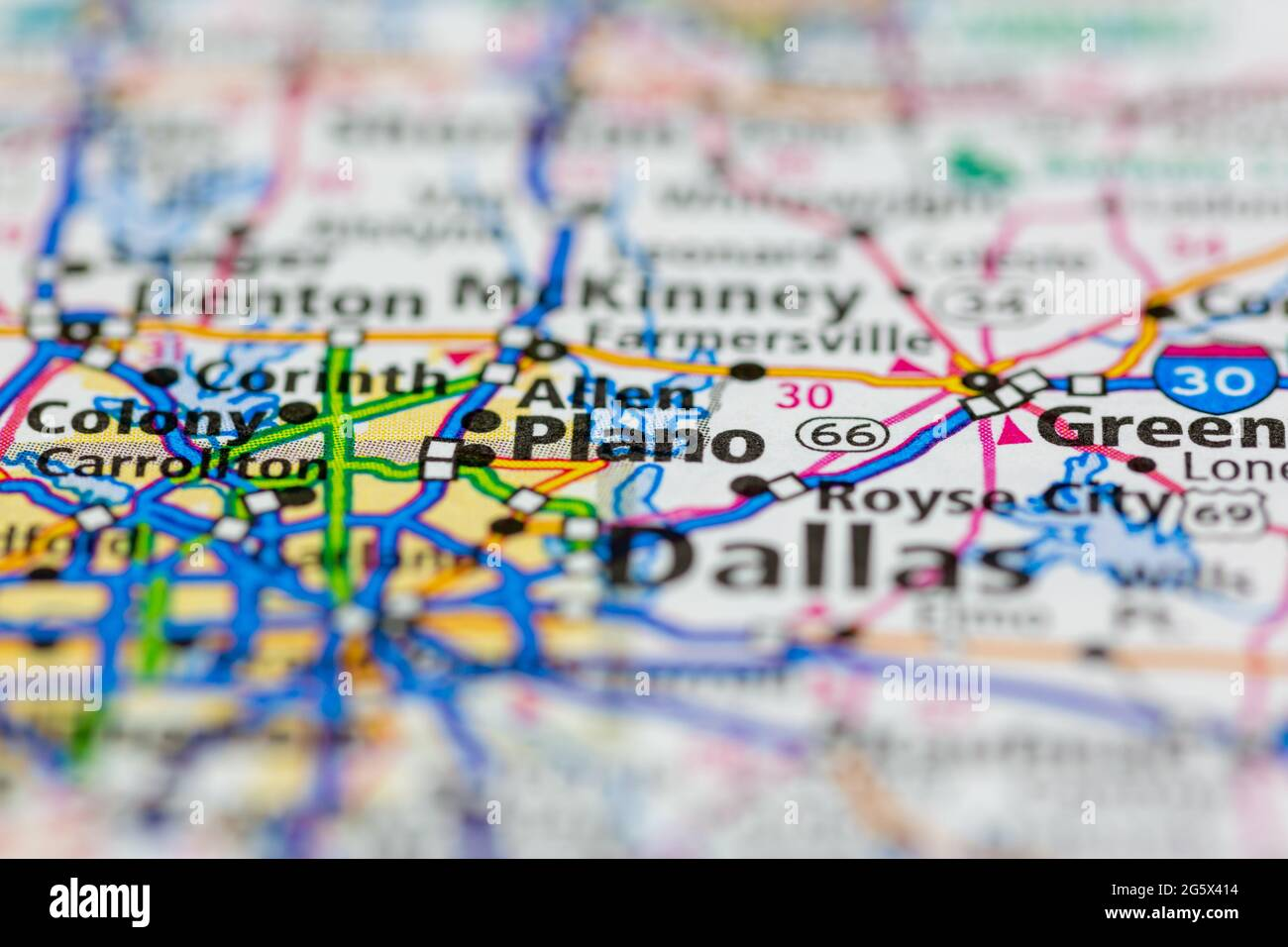 Plano Texas USA mostrado en un mapa geográfico o mapa de carreteras Foto de stock