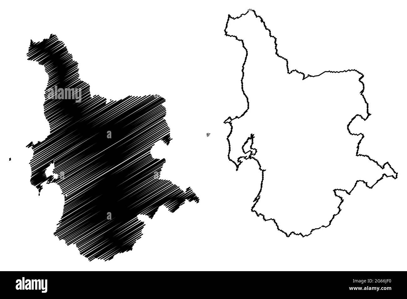 Provincia de Oristano (Italia, República Italiana, región de Cerdeña) mapa ilustración vectorial, scribble sketch Provincia de Oristano mapa Ilustración del Vector