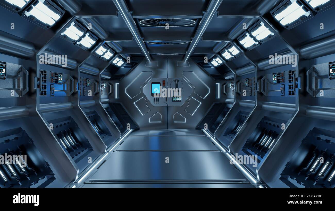 Ciencia fondo ficción interior rendering ciencia ficción pasillos nave espacial luz azul,3D renderizado Foto de stock