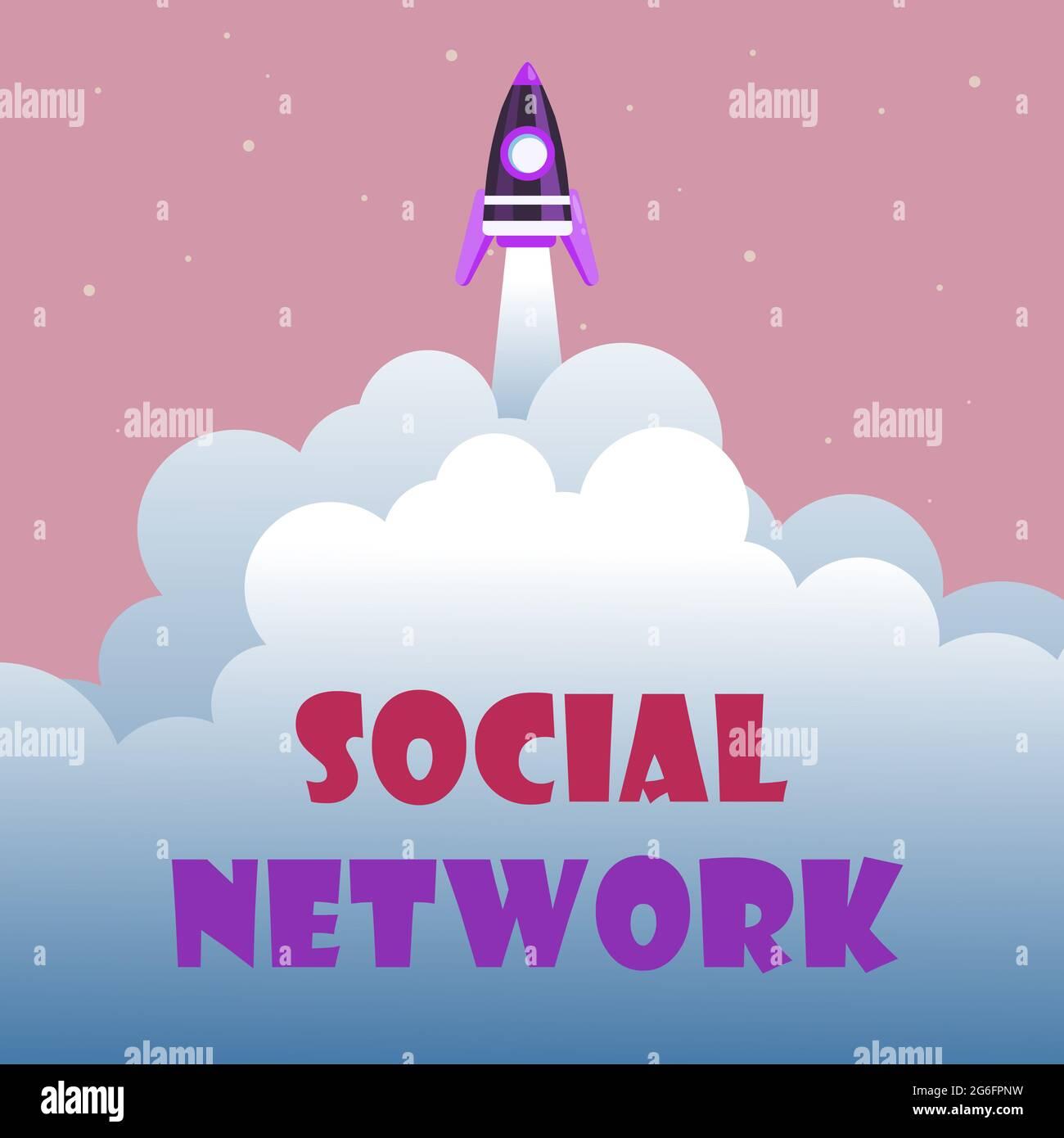 Pantalla conceptual Red social. Palabra escrita en un marco de trabajo de individuo vinculado por interan relación individualal Resumen Alcanzando el Nivel Superior Foto de stock