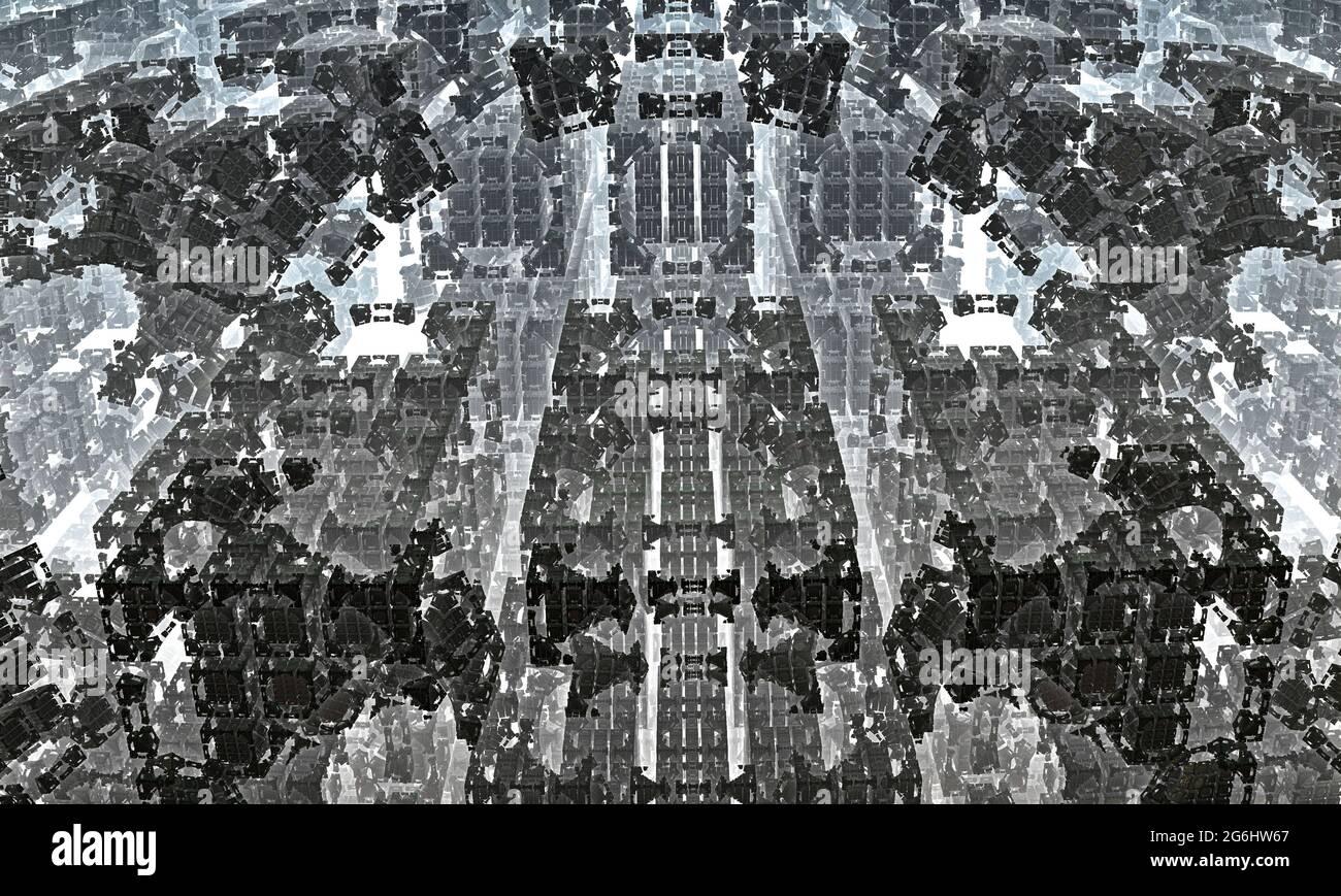 fractal espiral, estructuras lineales tejidas, elementos arquitectónicos geométricos. ilustración 3d. Foto de stock