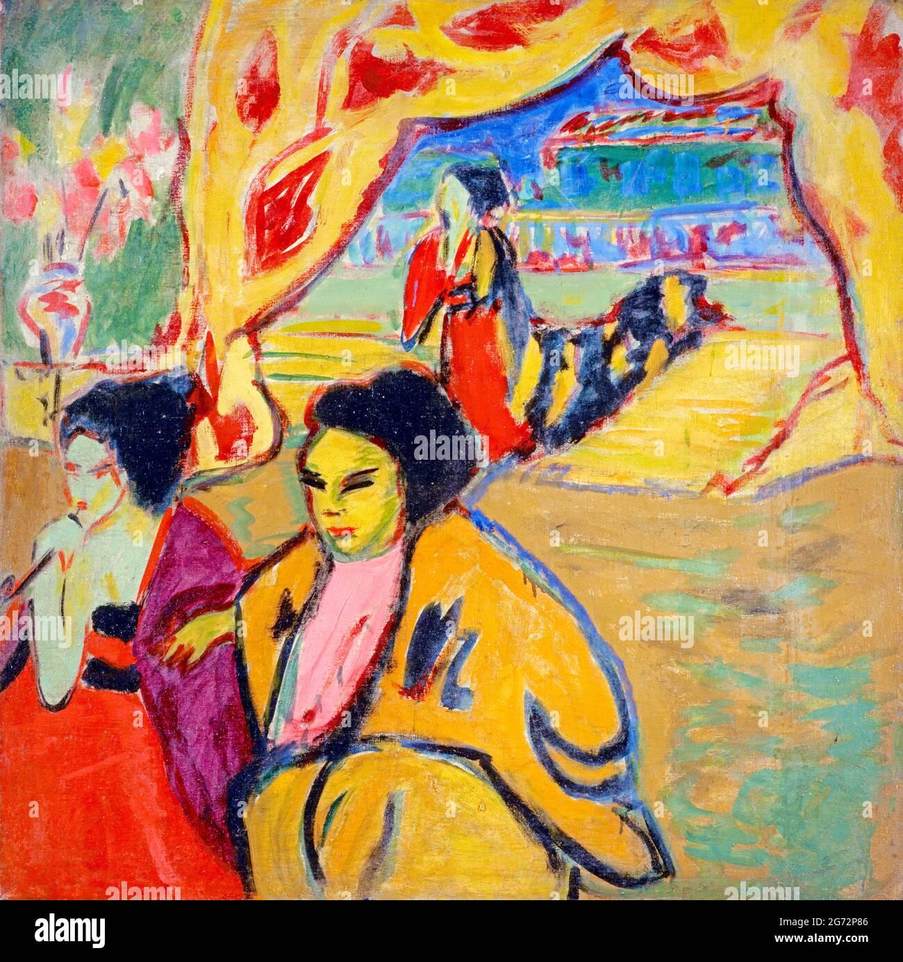 Japanisches Theatre (Teatro Japonés) de Ernst Ludwig Kirchner (1880-1938), óleo sobre lienzo, 1909 Foto de stock