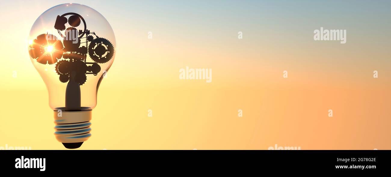 Los engranajes conceptuales y los engranajes dentro de una bombilla que muestra una idea o pensamiento 3D render Foto de stock