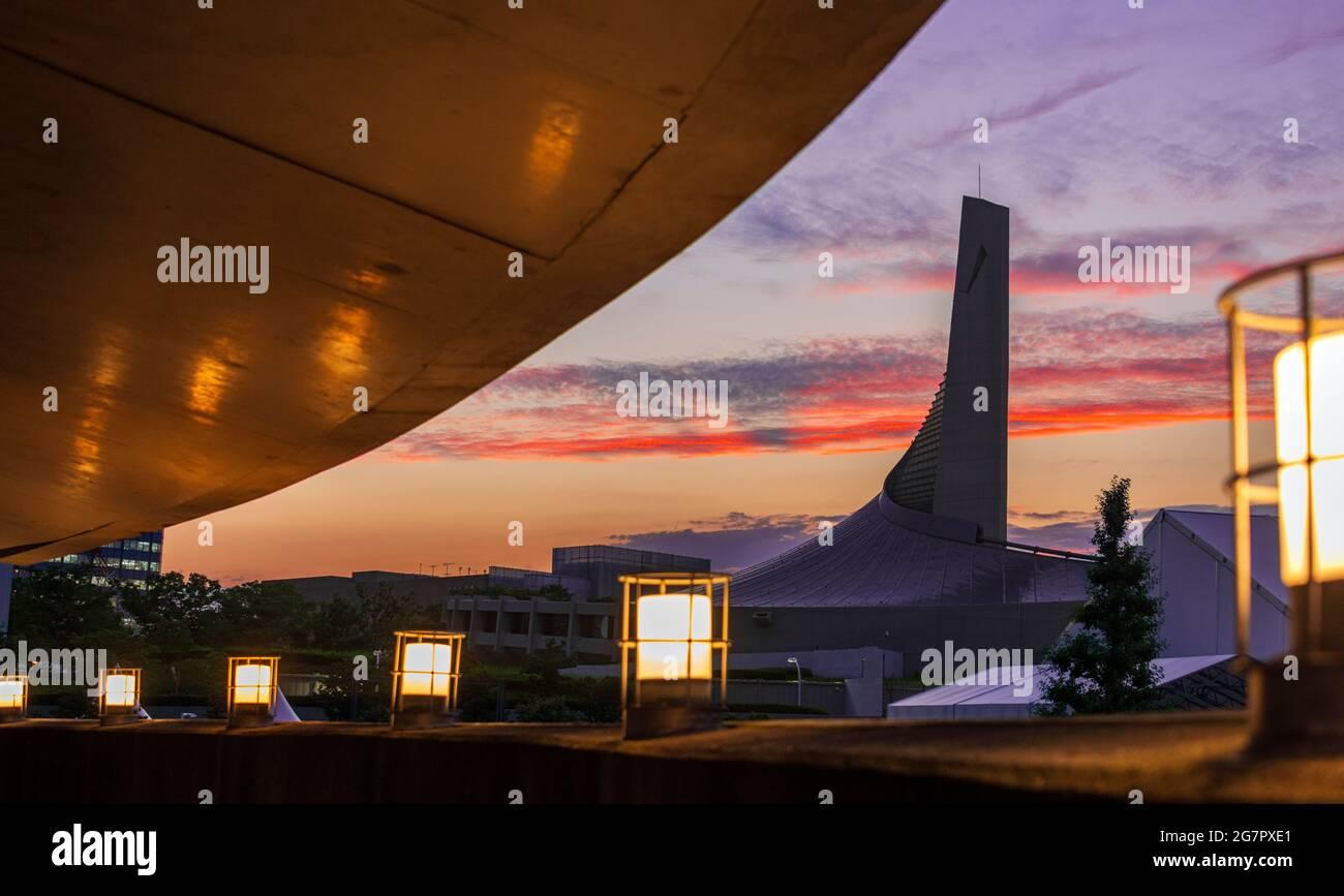 El gimnasio 2nd de Kenzo Tange, construido para los Juegos Olímpicos de Tokio 1964, se encuentra dentro del Yoyogi National Gymnasium Complex en Tokio el 21 de junio de 2021. Robert Gilhooly foto Foto de stock