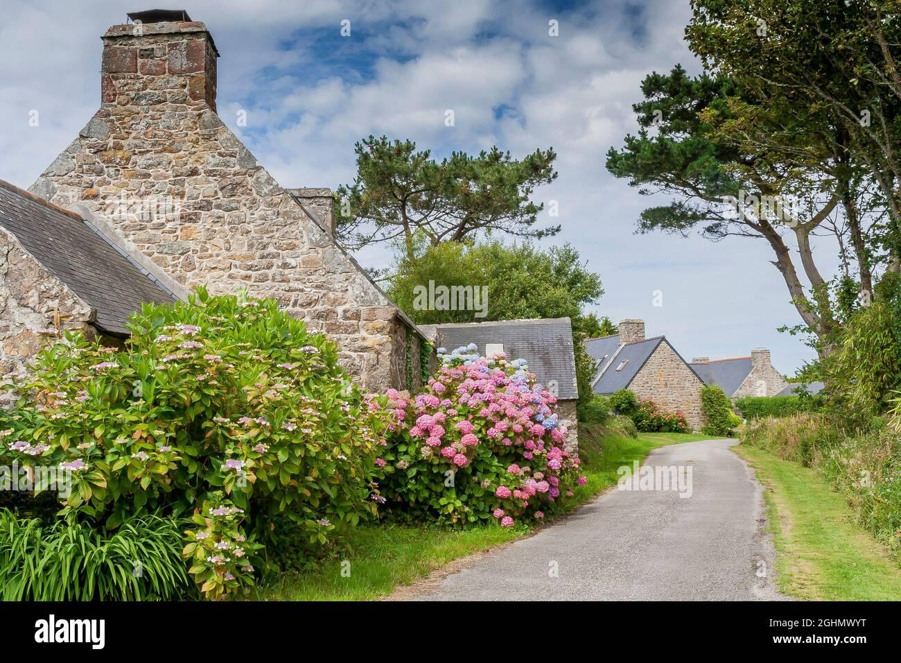 Hameau de Kerroux, Penty, Peninsule de Crozon, Finisterre, Francia Foto de stock