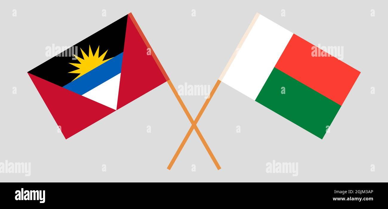Banderas cruzadas de Antigua y Barbuda y Madagascar Ilustración del Vector