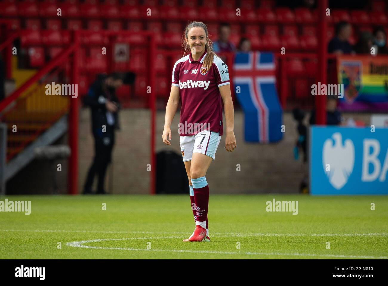 Londres, Reino Unido. 11th de septiembre de 2021. Lisa Evans, de West Ham. Barclays FA Super League West Ham - Mujer contra Aston Villa. Crédito: Liam Asman/Alamy Live News Foto de stock