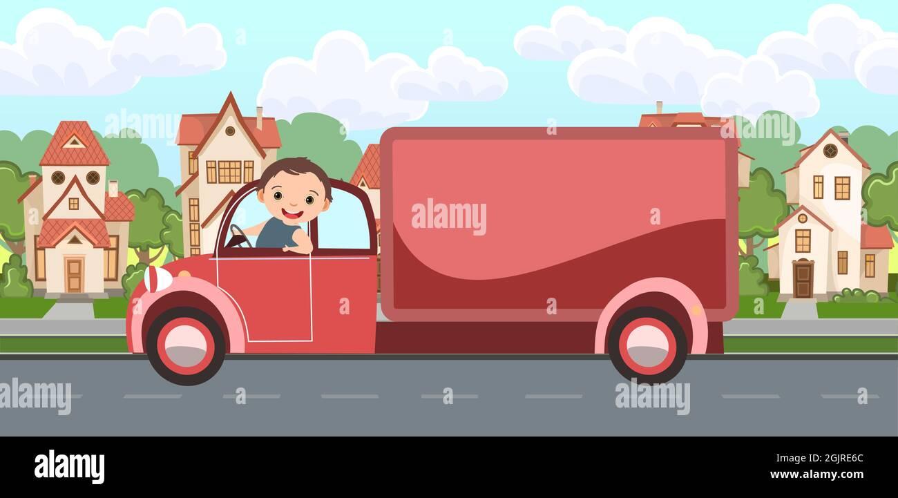 Camión. Ilustración de dibujos animados para niños. Niños de vacaciones. Paisaje urbano con carretera suburbana. Turismo automotor. Viaje niños. Divertido y feliz Ilustración del Vector