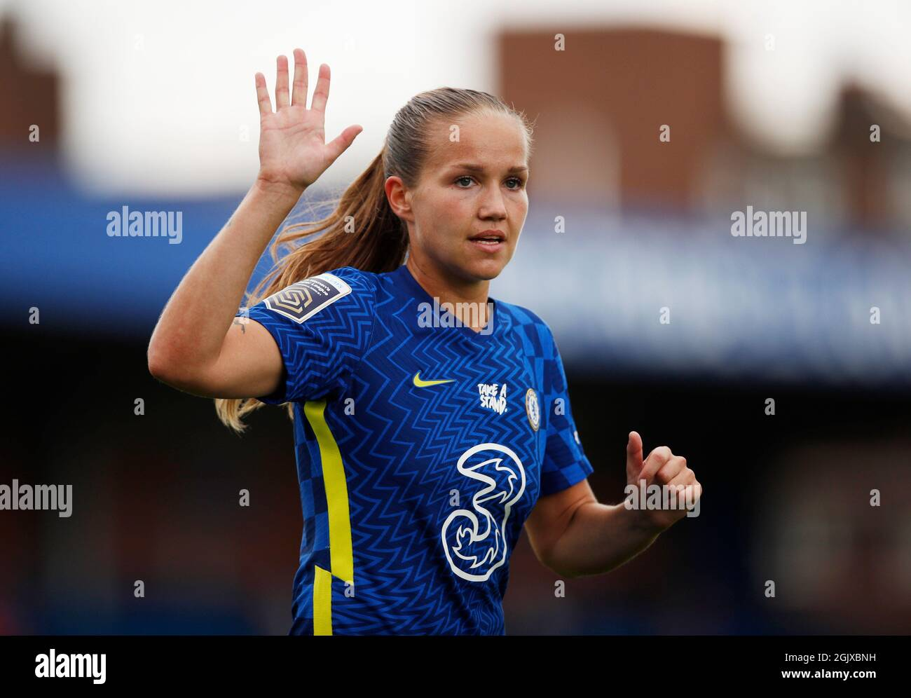 Fútbol - Super Liga Femenina - Chelsea v Everton - Kingsmeadow, Londres, Gran Bretaña - 12 de septiembre de 2021 Chelsea's Guro Reiten Action Images via Reuters/Andrew Boyers Foto de stock