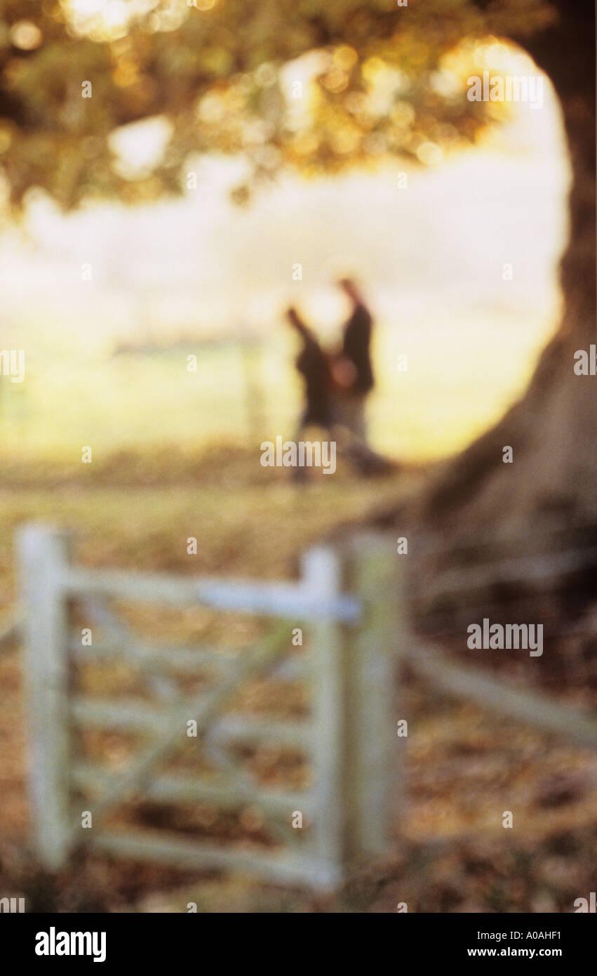 Pareja Defocussed caminando por un gigantesco árbol de roble y gated valla en otoño o caída Imagen De Stock