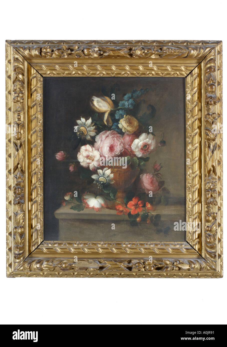 Pintura al óleo de flores en un jarrón, rodeada por un marco de ...
