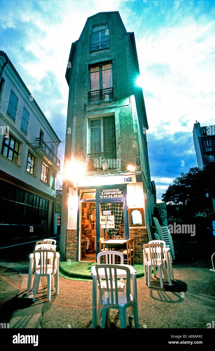 París Francia Barrio Arabian Restaurante Terraza Vacía En