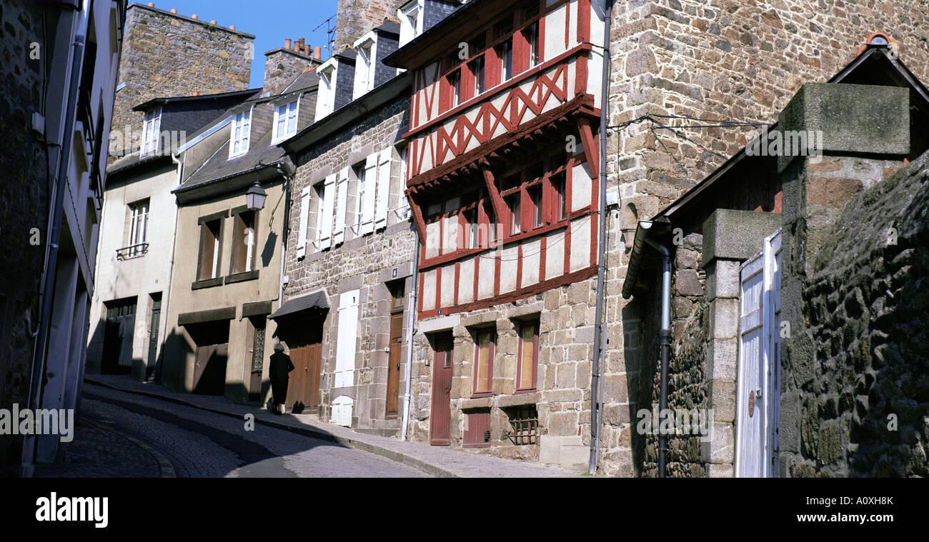 Casas con entramados de madera St Brieuc Cotes d Amor Bretaña Francia Europa Foto de stock