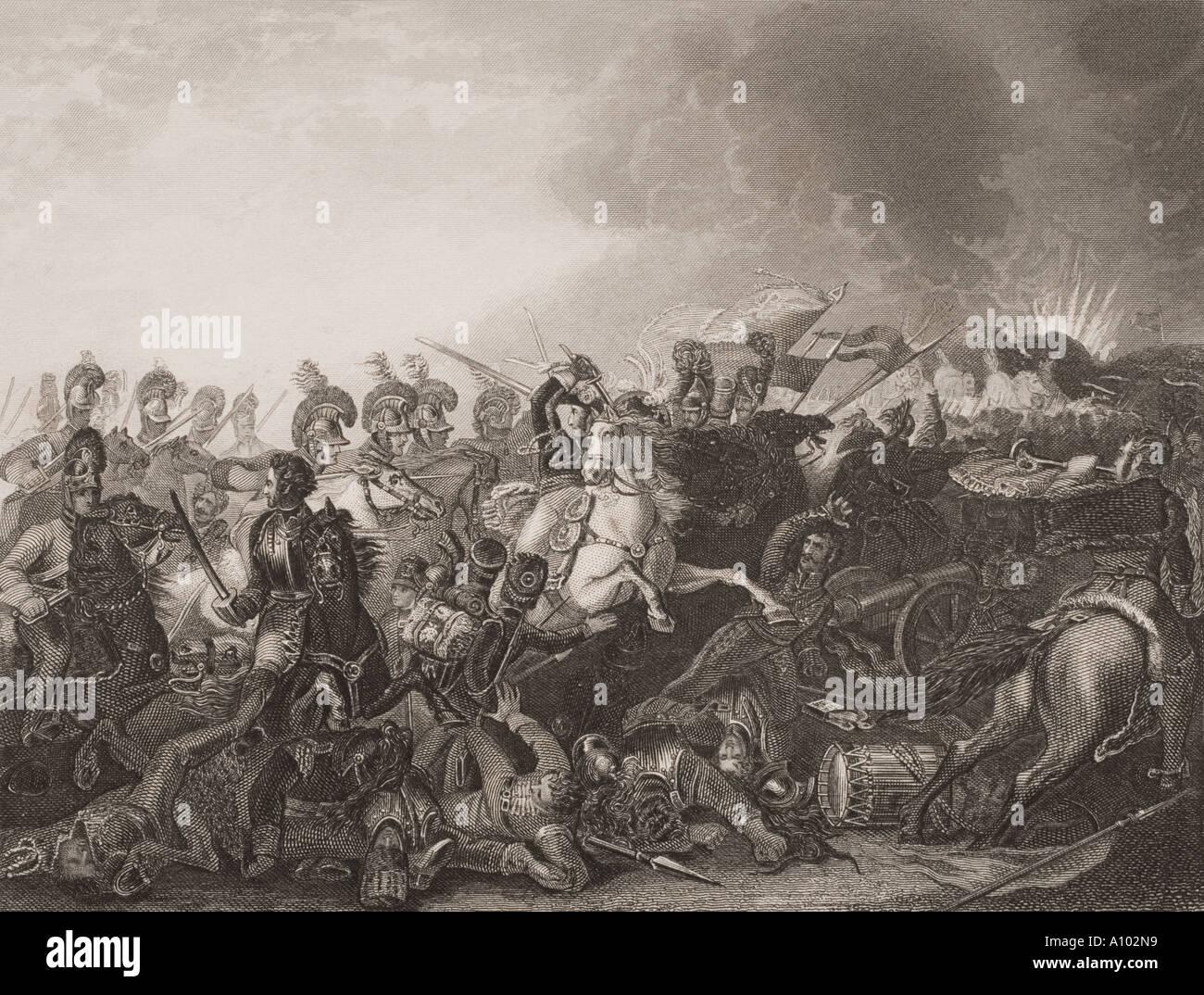 La carga decisiva de los protectores de la vida en la batalla de Waterloo en Bélgica el 18 de junio de 1815 Imagen De Stock