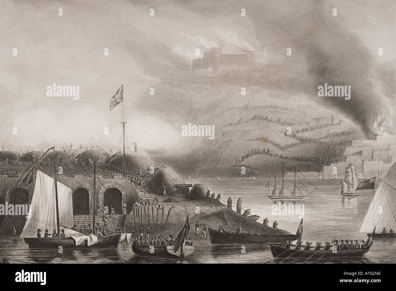 El asalto de San Sebastián, España, 31 de agosto de 1813. Foto de stock