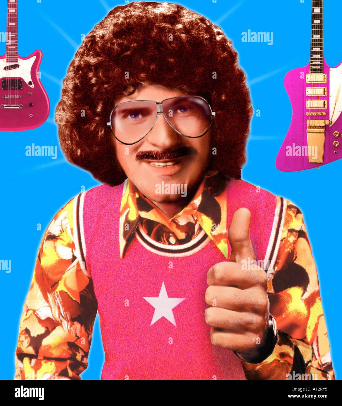 Derecha en Groovy 1970 Retro Dude Ilustración montage Imagen De Stock