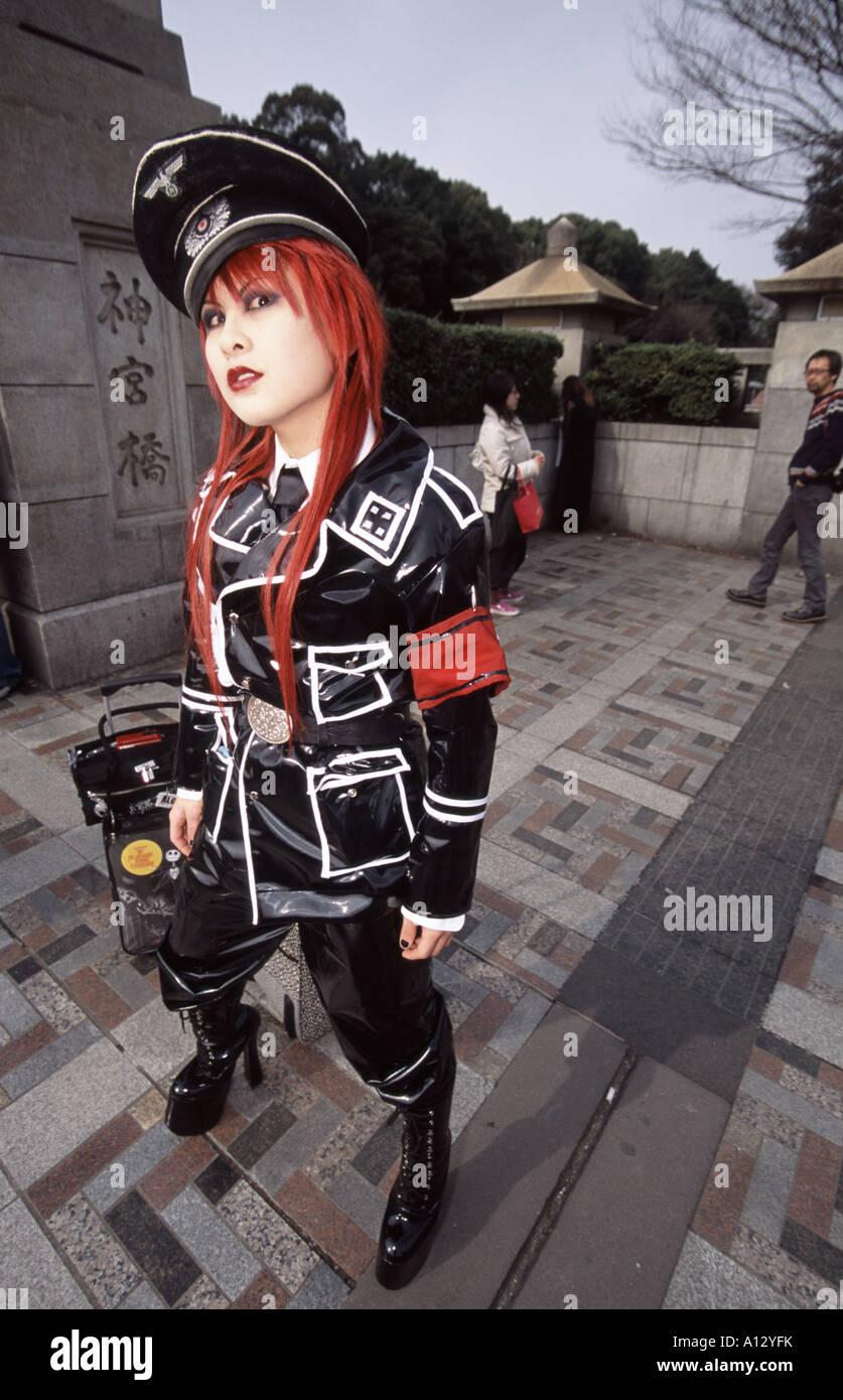 Una cos-play chica en uniforme Nazi en Harajuku, Tokio, Japón Imagen De Stock