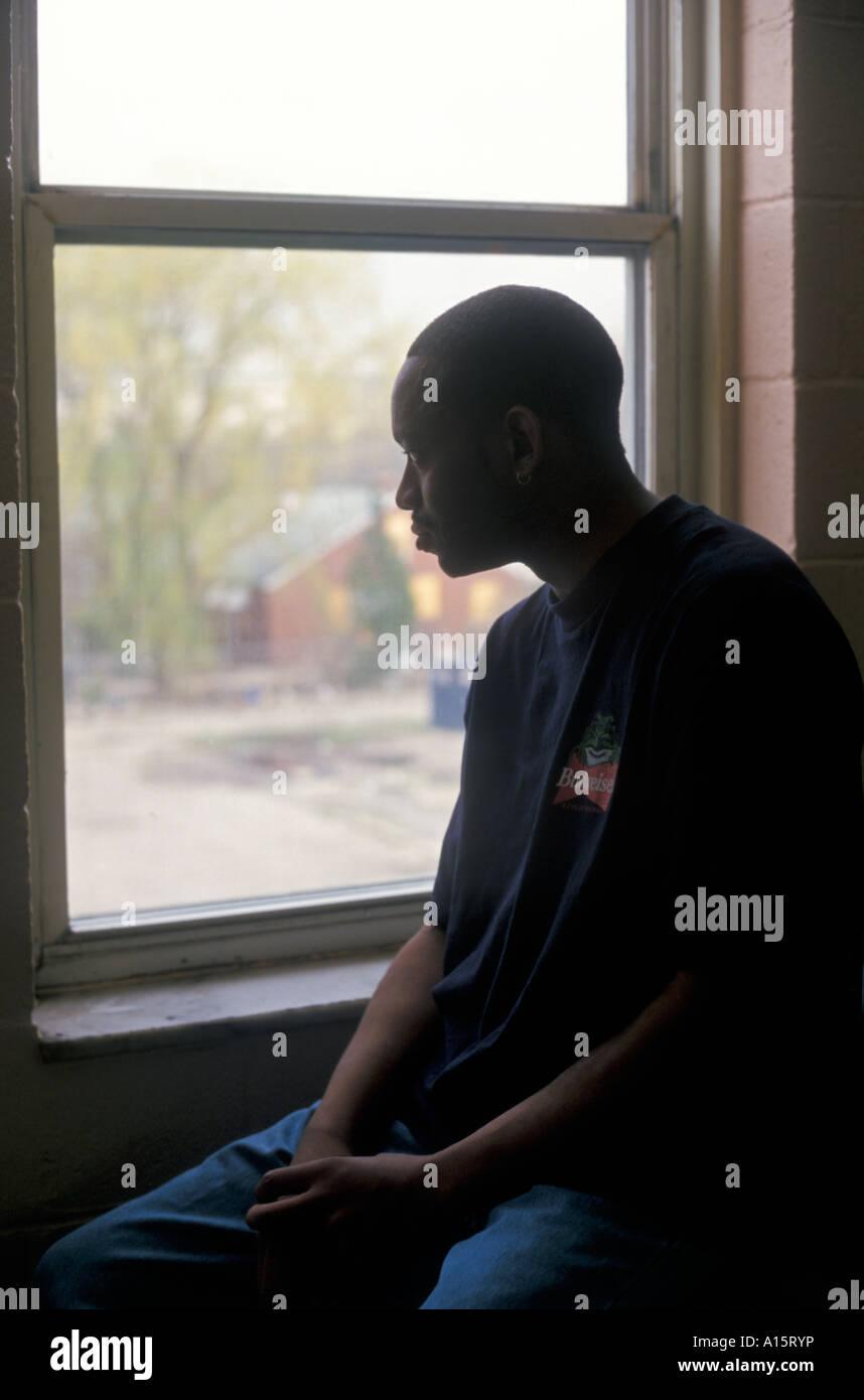 Paciente con SIDA en un hospicio Foto de stock
