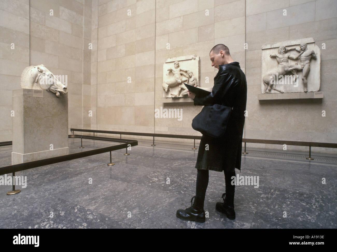 Los frisos del Partenón en el Museo Británico de Londres Imagen De Stock