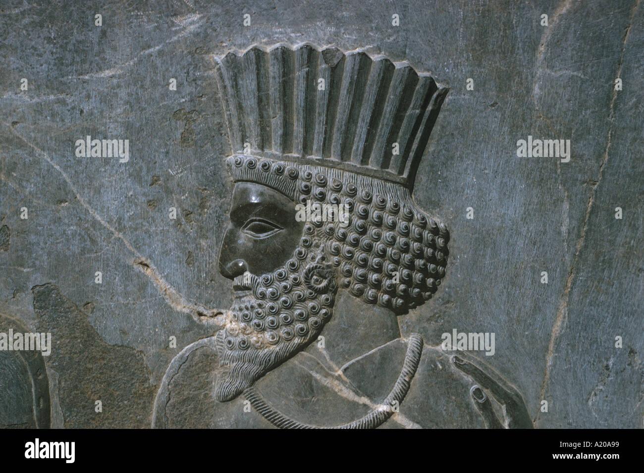 Bajorrelieve figura de guardia o noble en el friso a lo largo de la pared externa del palacio central; Persépolis Foto de stock