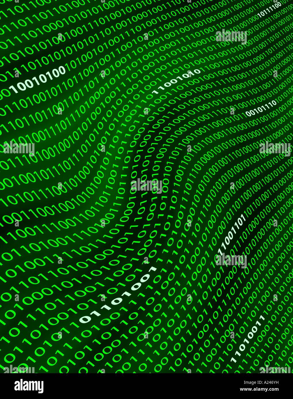 Una visión distorsionada del campo digital de números binarios o código verde Imagen De Stock