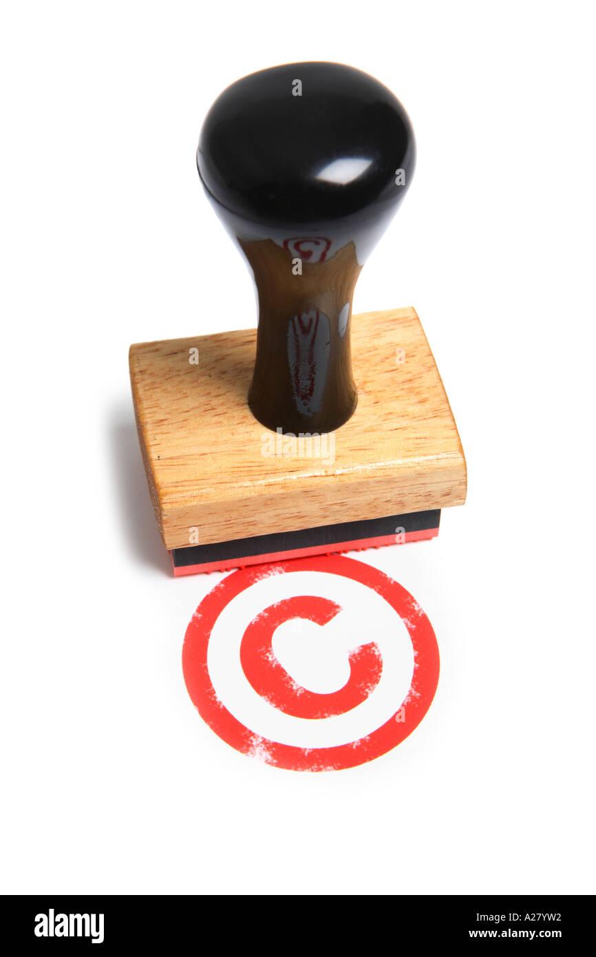 Símbolo de copyright estampado con sello de goma. Foto de stock