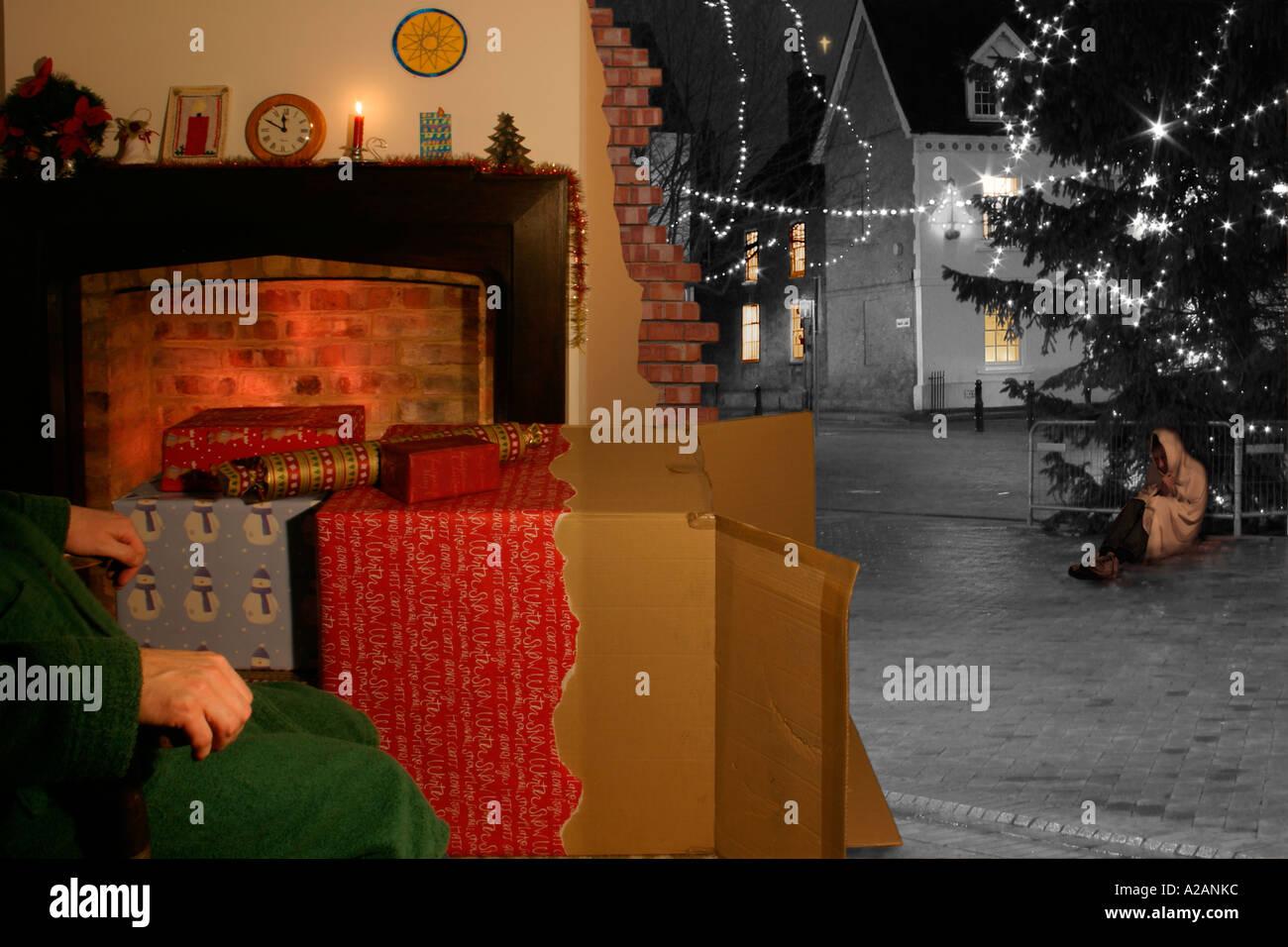 personas sin hogar en vsperas de navidad imagen de stock - Christmas On Division Street