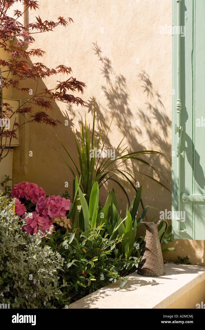 Huerto y regando jarra en patio de villa provenzal Imagen De Stock