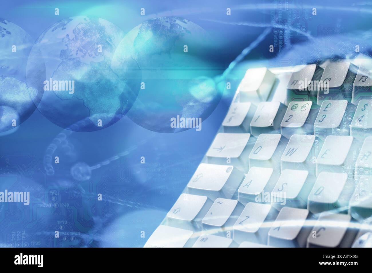 Montaje del teclado del ordenador y globos Imagen De Stock
