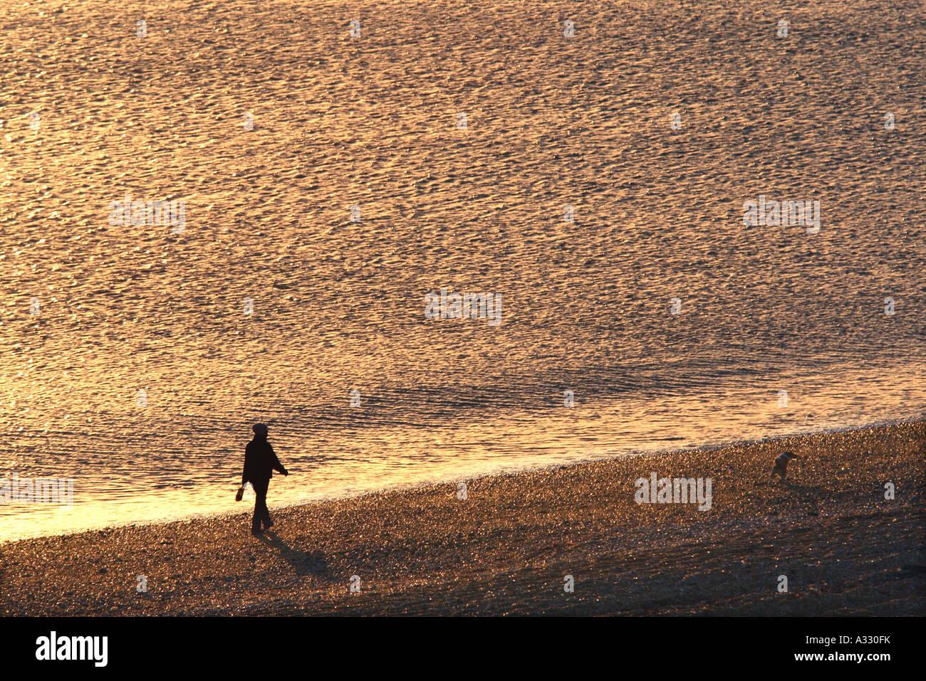 Persona caminando a su perro a lo largo de la línea de la orilla de una playa de guijarros Imagen De Stock