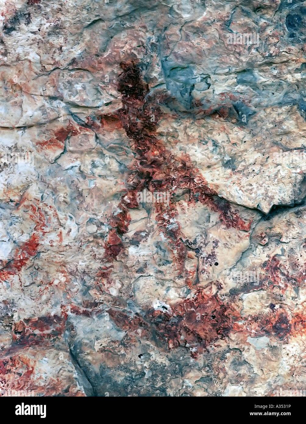 Pinturas americanas nativas en un acantilado en Dryden Texas situado en el extremo norte del desierto de Chihuahua Imagen De Stock