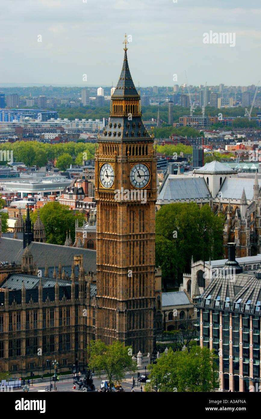 El Big Ben y las Casas del Parlamento, el Palacio de Westminster, Londres, Gran Bretaña. Foto de stock