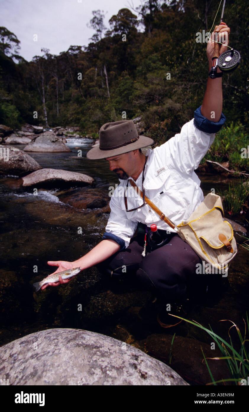 Trucha capturada en intentar volar Río Kiewa Río Kiewa NE Victoria Australia vertical Foto de stock